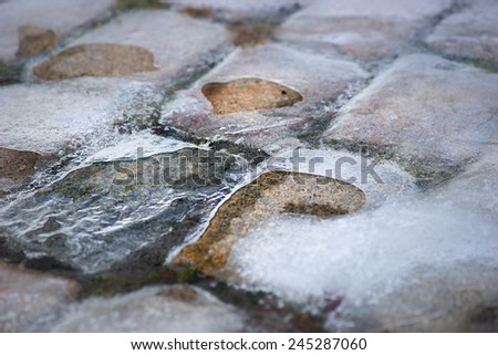 Background with cobble stones covered in ice