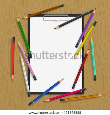 Background with color pencils.  Folder-plate with blank and color pencil around on the table