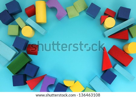 Background with color wooden toys