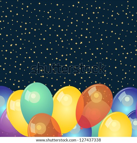 Background with colorful balloons and stars - stock photo