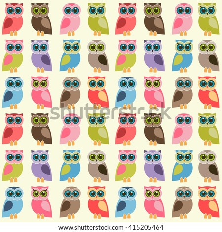 background with colorful owls and owlets. Raster version - stock photo