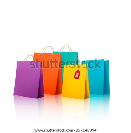 Background with colorful shopping bags. Discount concept.  - stock photo