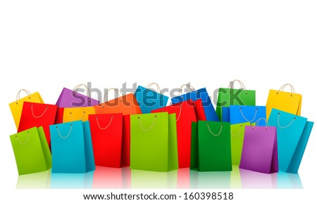Background with colorful shopping bags. Discount concept. Raster version. - stock photo