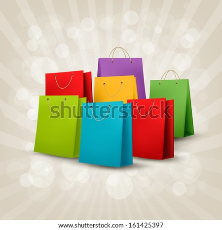Background with colorful shopping bags. Discount concept. Raster version