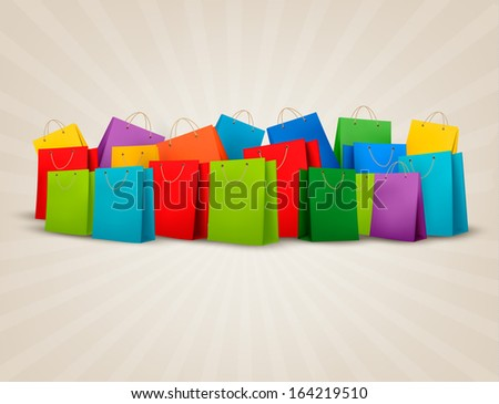 Background with colorful shopping bags. Discount concept. Raster version - stock photo