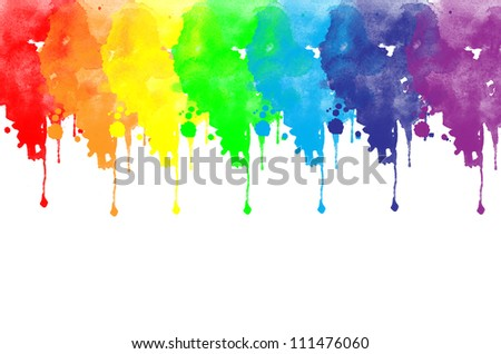 Background with colors of rainbow watercolor painted - stock photo