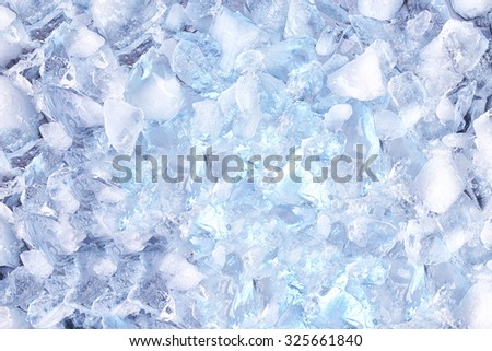 background with crushed ice cubes, top view - stock photo