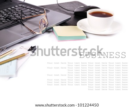 Background with cup of coffee and elements of workplace - stock photo