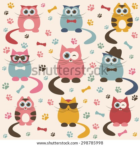 Background with cute cats. Raster version - stock photo