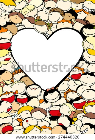 Background with cute kids and heart-shaped window for your text (raster version) - stock photo