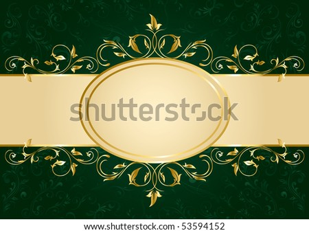 Background with decorative golden template, illustration