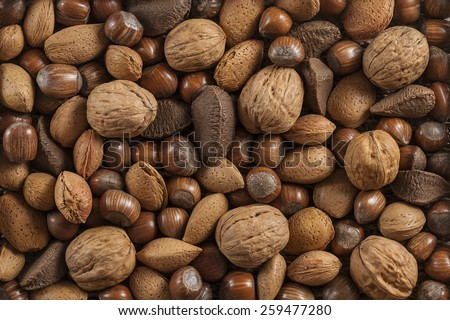 background with different kinds of nuts in shells - stock photo