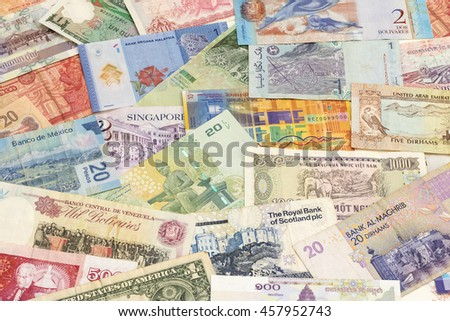 Background with different World Paper Money