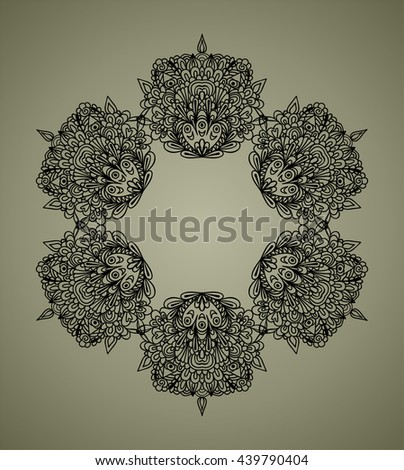Background with doodle decorative elements. Raster illustration. Six same lacy elements placed by round, hand drawn line art pattern for design. - stock photo