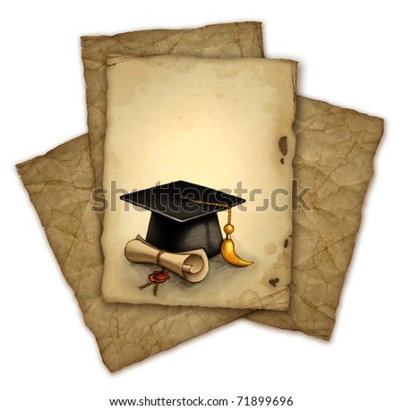 Background with drawing of graduation cap and diploma - stock photo