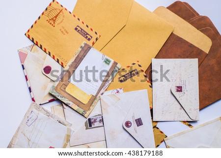 Background with envelopes - stock photo