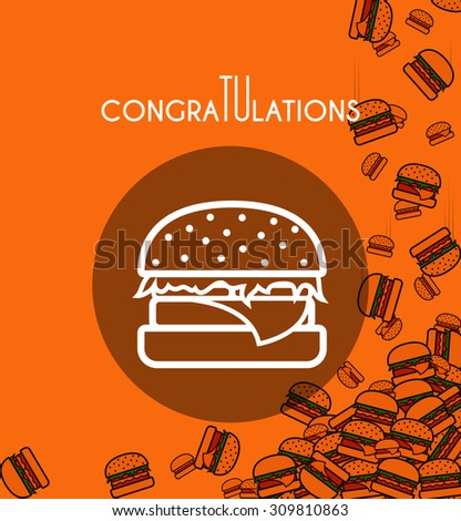 Background with falling burgers and overlay orange colors for design of cards and others