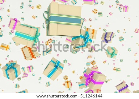 Background with falling christmas or any celebration's presents. Illustration of gifts with ribbon and bow and different dimension. 3D Rendering