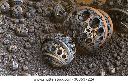 Background with fantastic 3D spheres, abstract fractal design. - stock photo