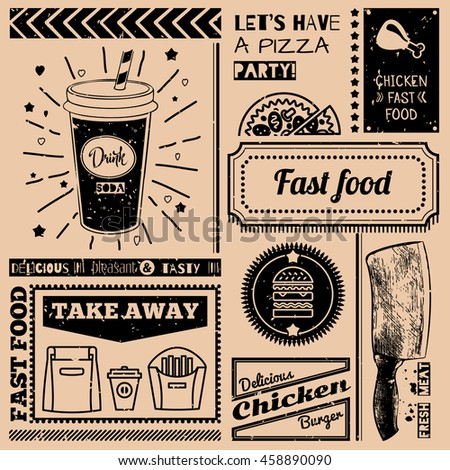 Background with fast food symbols. Menu pattern. Illustration with beverage, cheeseburger, knife and lettering on craft paper background. Decorative elements for packing design. Raster version