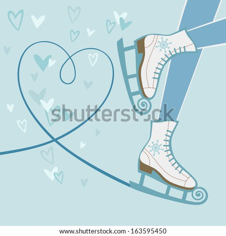 Background with feet in figure skates and with blade trail on ice in shape of heart. Winter sport decorative illustration in cartoon style. Original card with concept of recreation and leisure  - stock photo