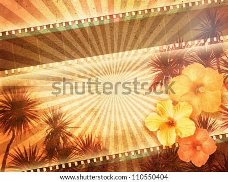 Background with film strip, palm trees and hibiscus flowers - stock photo