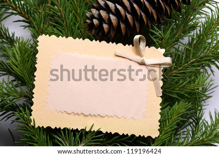 Background with fir and greeting card - stock photo