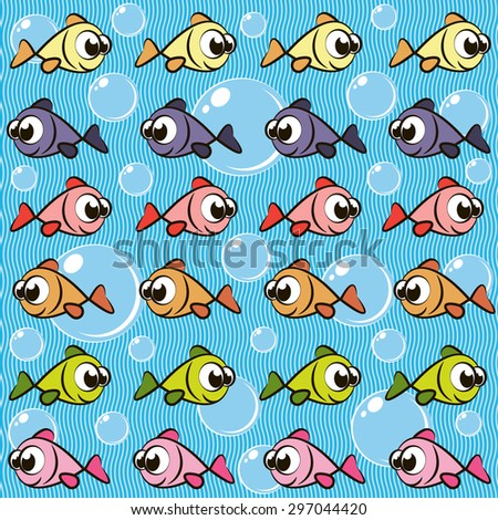Background with fishes. Raster version - stock photo