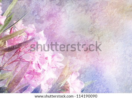 background with floral decoration, patina texture - stock photo