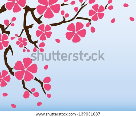 Background with flowering branch of sakura. raster version, vector file also included