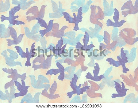 Background with Flying Birds in the Sky.  Hand Drawn Illustration. - stock photo
