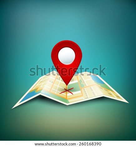background with folded maps with red point markers - stock photo