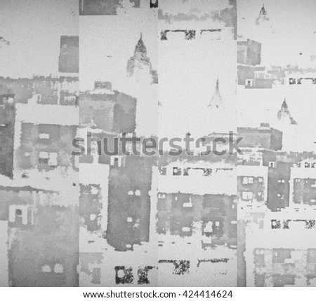 Background with fragments of New York City buildings. Manhattan - stock photo