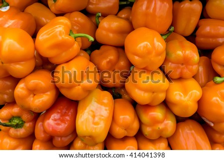 Background with fresh paprika, closeup. Image taken at the market