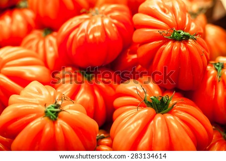Background with fresh red tomatoes. Ripe big tomatoes in market close up.  - stock photo