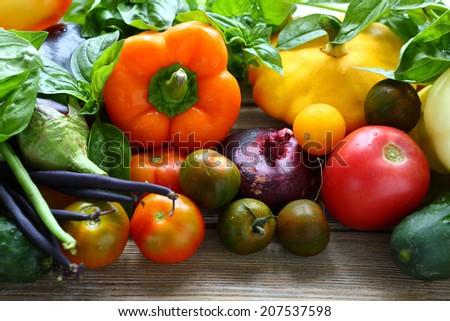 background with fresh seasonal vegetables, food - stock photo