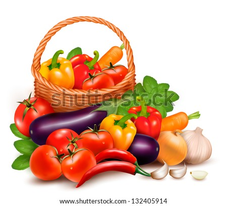 Background with fresh vegetables in basket. Healthy Food. Raster version of vector - stock photo