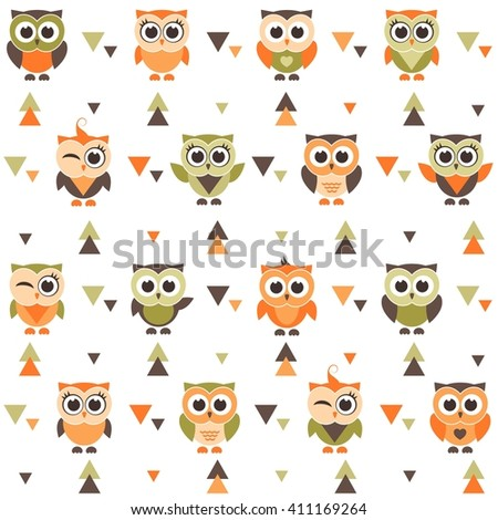 Background with funny owls and owlets. Raster version - stock photo