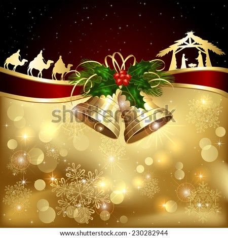 Background with golden Christmas bells, holly berry and Christian scene, illustration. - stock photo