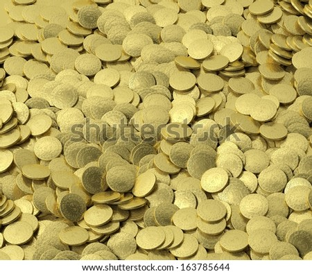 Background with golden coins - stock photo