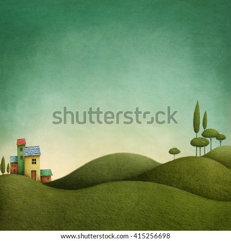 Background with green landscape  for fairytale illustrations - stock photo