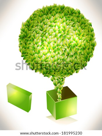 background with green tree - stock photo
