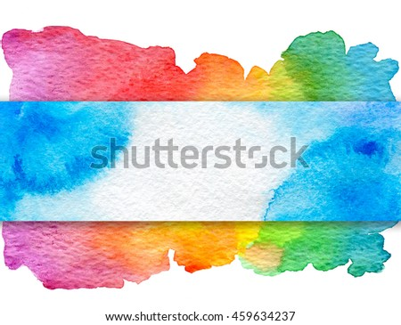 Background with hand drawn watercolor elements. Blue banner on rainbow background.