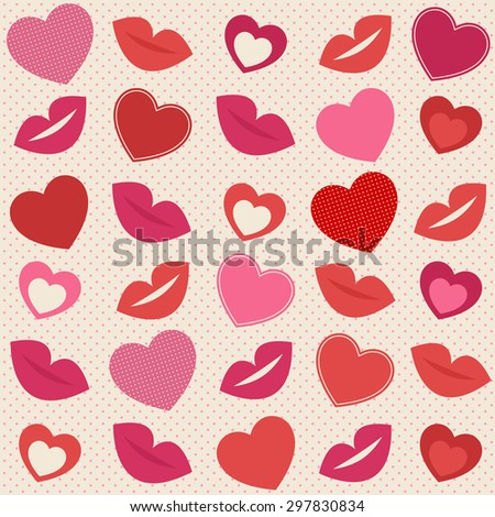 Background with hearts and lips. Raster version - stock photo