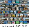 Background with horizontal travel filmstrips - stock photo