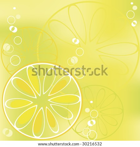 Background with lemon slice in bubbly drink - stock photo