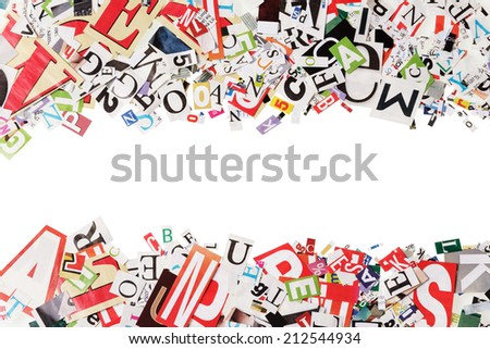 Background with letters from newspapers on white - stock photo