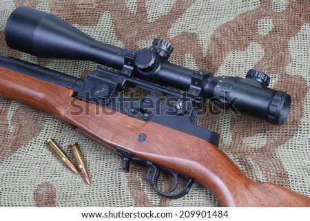background with M14 sniper rifle - stock photo