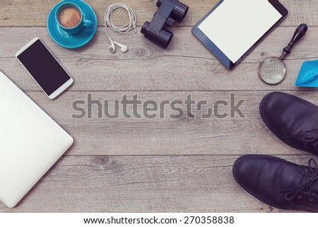 Background with man adventure essential object. View from above - stock photo