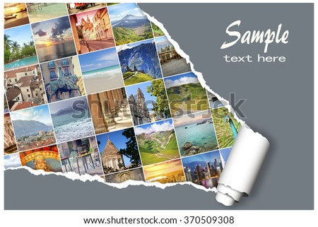 Background with many  photos from vacation on beautiful a seaside with effect ofripped paper. Design, advertising, concept - stock photo